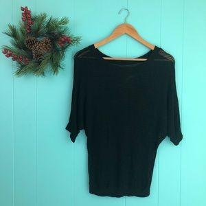 Express Black Mesh Knit Dolman Sleeve Sweater